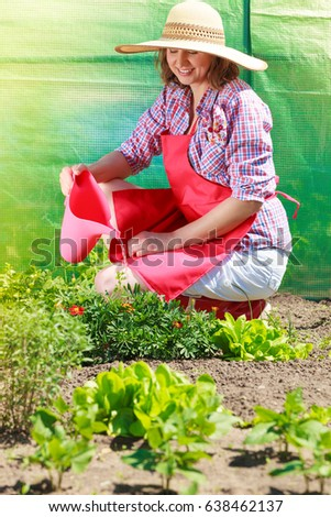 Gardening Woman Hat Red Apron Working Stock Photo (Royalty Free ...