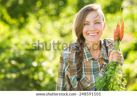 Gardening - Woman with organic carrots in a vegetable garden. backlight, copy space - stock photo