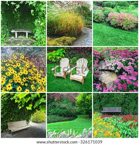 Gardens and blooming flowers. Collage of nine photos. - stock photo