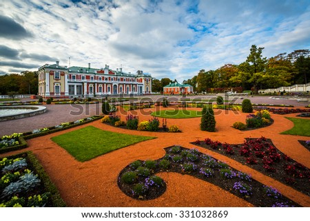 Gardens and Kadriorg Palace, at Kadrioru Park, in Tallinn, Estonia. - stock photo