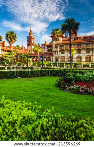 Gardens and Ponce de Leon Hall at Flagler College, St. Augustine, Florida. - stock photo