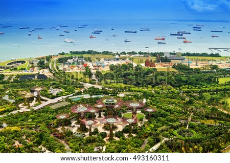 Gardens by the Bay and  Cargo ships of Singapore.