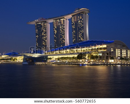 Gardens by the bay Marina bay front water barrage Esplanade sands modern architecture horticultural landscape breathing lighted super trees in South East Asian city island state Singapore