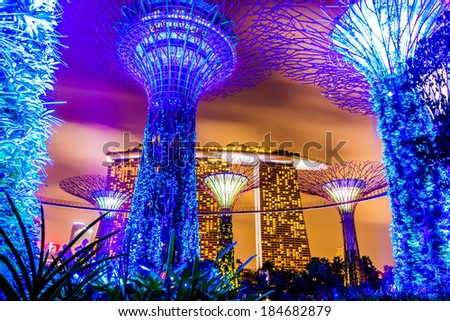 Gardens by the Bay - SuperTree Grove in Singapore - stock photo