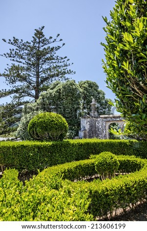 Gardens in National Palace park, Sintra, Portugal - stock photo
