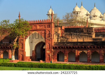 Gardens of Agra Fort , India, - stock photo