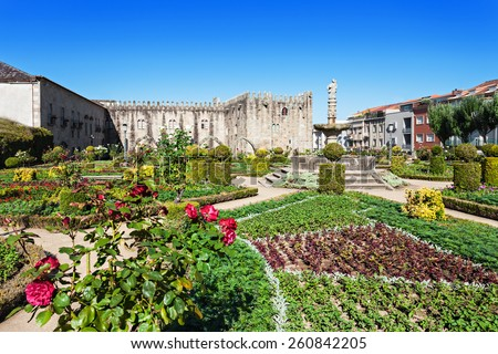 Gardens of Santa Barbara with castle of Braga, Portugal - stock photo
