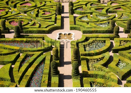 Gardens of the Chateau de Villandry, France - stock photo