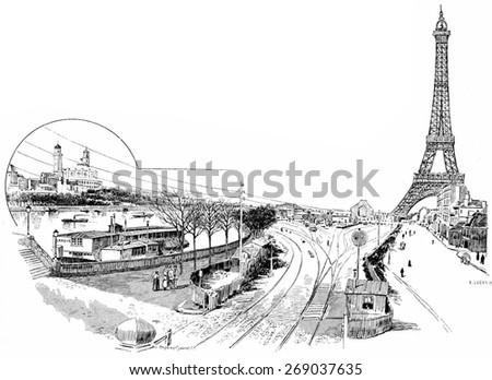 Gare du Champ de Mars or Champ de Mars �¢?? Tour Eiffel, vintage engraved illustration. Paris - Auguste VITU 1890. - stock photo