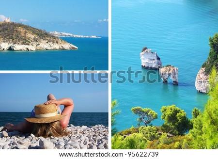 Gargano peninsula - collage - stock photo