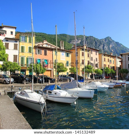 gargnano harbor with sailboats - stock photo