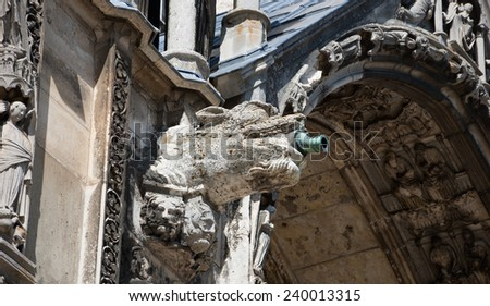 Gargoyle downspout. Architectural detail of  the cathedral in Chartres (France). - stock photo