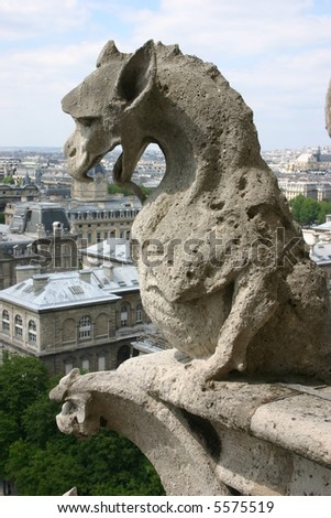 Gargoyle, Notre Dame, Paris - stock photo