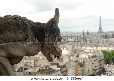 Gargoyle of notre dame de paris - stock photo