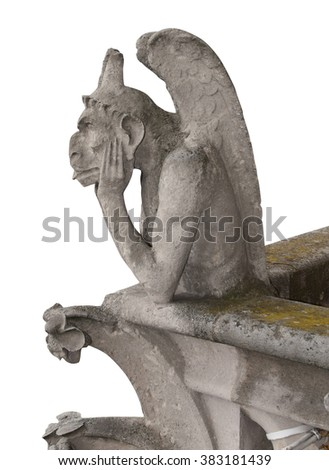 Gargoyle of Notre Dame, Paris, isolated on white background. Clipping path included.