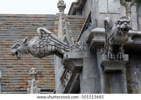 Gargoyle statue of church in Bana hill, tourism site in Da Nang, Vietnam