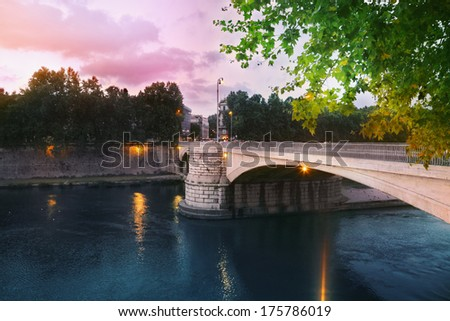 Garibaldi bridge in Rome - stock photo