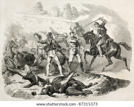Garibaldi fighting in the battle of Milazzo, Sicily. Created by Janet-Lange after Duvaux, published on L'Illustration, Journal Universel, Paris, 1860 - stock photo