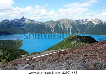 Garibaldi Lake And Black Tusk Summit (Garibaldi Provincial Park, Coast Mountains, British Columbia, Canada) - stock photo