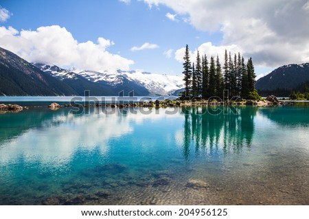 Garibaldi Lake reflections, Whistler, BC - stock photo