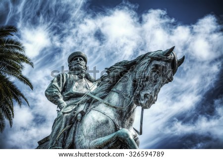 Garibaldi statue in Pistoia, Italy - stock photo