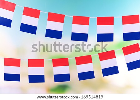 Garland of flags on bright background - stock photo