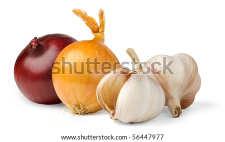 Garlic and onions isolated on white - stock photo