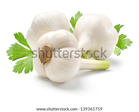 Garlic and parsley leaves isolated on white background. - stock photo