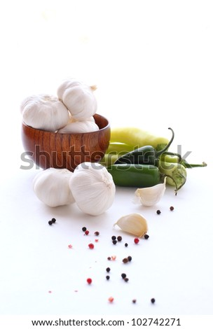 Garlic and pepper - stock photo
