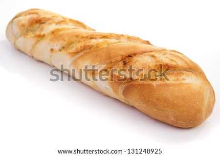 garlic baguette on white background - stock photo
