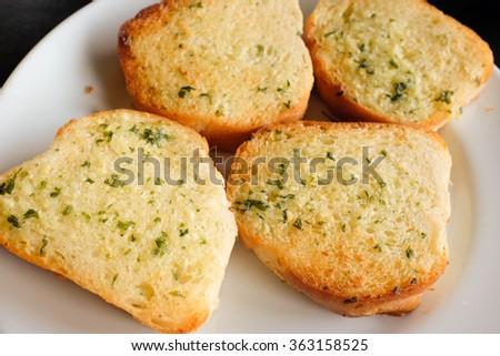Garlic bread. - stock photo