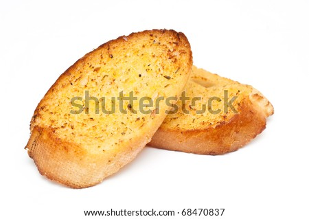 garlic bread against white background - stock photo