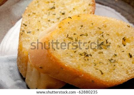 Garlic bread close-up. - stock photo