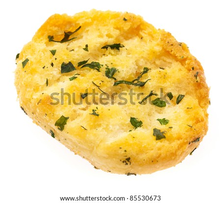 garlic bread isolated on a white background - stock photo