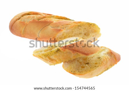 garlic bread isolated on white background - stock photo
