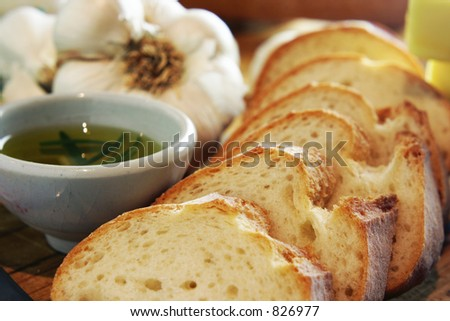 Garlic Bread landscape cropped - stock photo