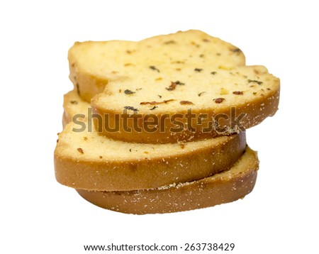 garlic bread on a white background. - stock photo