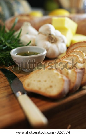 Garlic Bread shallow Depth of Field - stock photo