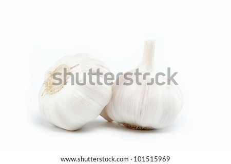 garlic bulb isolated on white background cutout - stock photo