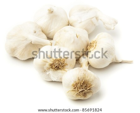 garlic bulbs isolated on a white background - stock photo