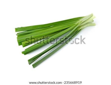 garlic chives (leek) isolated on white background - stock photo