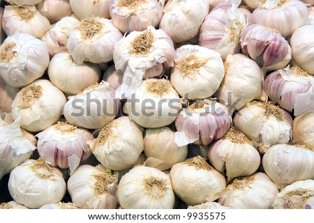 Garlic cloves at public market in Barcelona, Spain.
