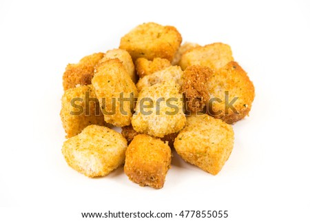 Garlic croutons isolated on white background