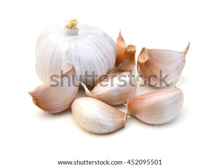Garlic. Group isolated on white background. - stock photo