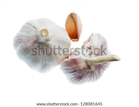 Garlic isolated on white background, pictured from top - stock photo