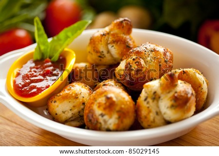 Garlic Knots w/ sauce 3 - stock photo