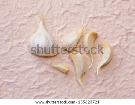 Garlic on Mulberry paper background - stock photo