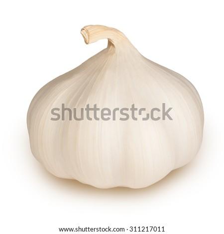 garlic on white background - stock photo