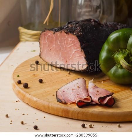 garlic smoked sirloin ham - stock photo