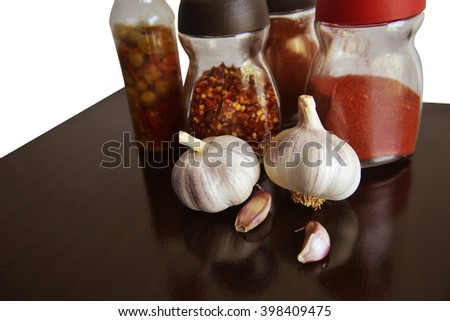 garlic, spices and condiments for food right  - stock photo
